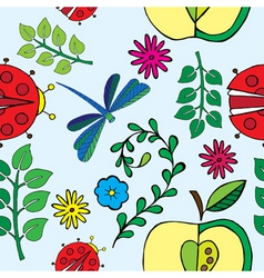 spring florals and bugs print vector image vector image
