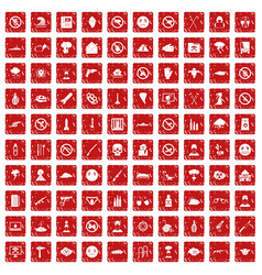 100 tension icons set grunge red vector image vector image