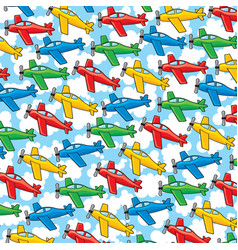 background pattern with airplanes and clouds vector image vector image