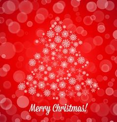 Christmas tree made of random snowflakes and bokeh vector image vector image