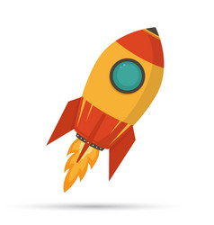 cosmic rocket in flat design on white background vector image vector image