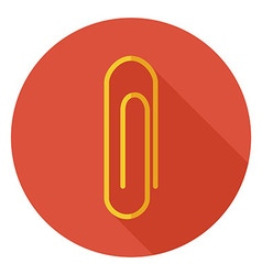 Flat Office Paper Clip Circle Icon with Long vector image vector image