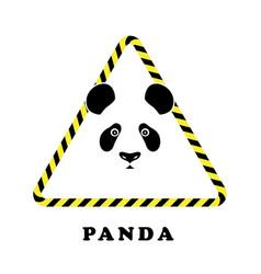 Icon head panda in a triangle tape danger vector