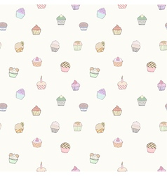 Seamless pattern of cupcakes vector image vector image