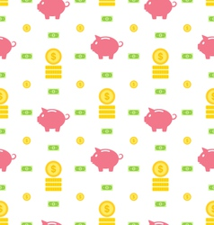 Seamless Pattern with Moneybox Bank Notes Coins vector image vector image