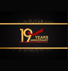 19 years anniversary logotype with golden color vector