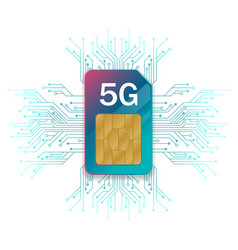 5g sim card technology background vector image