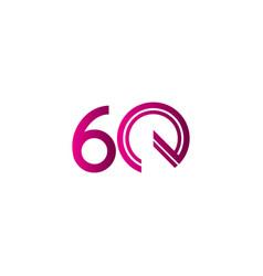 60 years anniversary celebration purple line vector