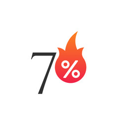 70 percent off with flame burning sticker vector image