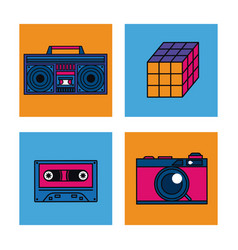 80s technology devices vector