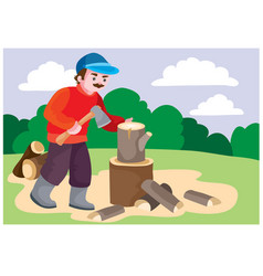 A man in a red sweater pricks a stump on the vector