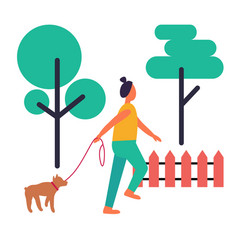 Adult woman walking her dog isolated vector