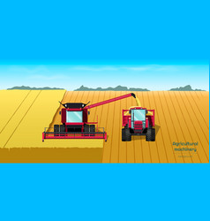 agriculture machinery harvester combine vector image