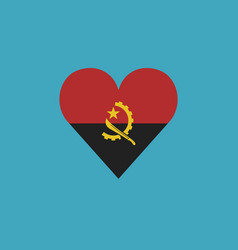 angola flag icon in a heart shape in flat design vector image