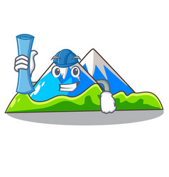 Architect miniature mountain in the character form vector