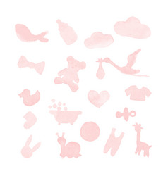 baby stuff watercolor design elements vector image