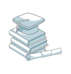 back to school book graduation cap and certificate vector image