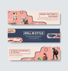 banner template with skateboard design concept vector image