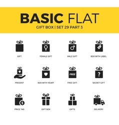 basic set gift box icons vector image