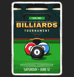 Billiard pool tournament retro poster vector