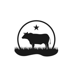 Black angus cattle logo emblem design template vector