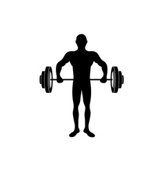 Black silhouette man lifting weights vector