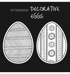 Black white decorative eggs Set of stickers on vector image