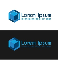 Blue cube logo template vector image