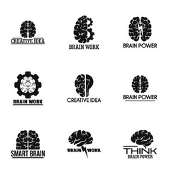 brain logo set simple style vector image