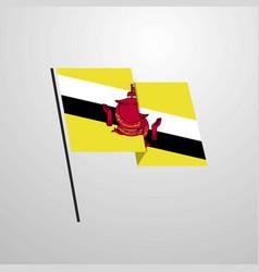 brunei waving flag design background vector image