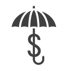 Business insurance solid icon umbrella dollar vector