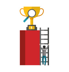 Businessman climbs stairs with trophy and vector