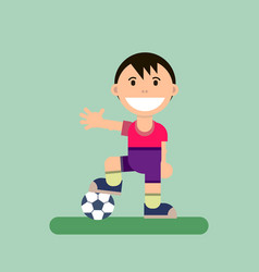 Cartoon little boy and ball vector