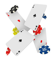 casino chips and aces falling on a white vector image