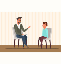 Child in psychologist office flat vector