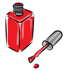 Clipart red manicure bottle with cap left vector