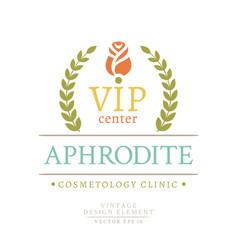 colorful retro badge of the vip center aphrodite vector image