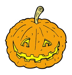 comic cartoon grinning pumpkin vector image