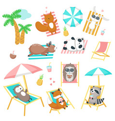 cute animals taking rest on beach icon set vector image