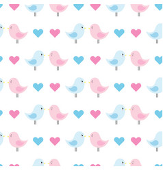 cute baby pattern with blue and pink birds vector image