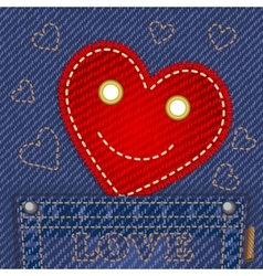 cute smiling heart in jeans pocket vector image