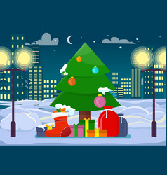 Decorated christmas tree with presents outdoors vector