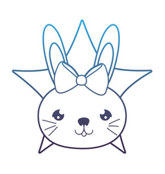Degraded line female rabbit head with ribbon bow vector