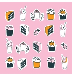 Delicious food desserts set cake muffin cupcake vector image