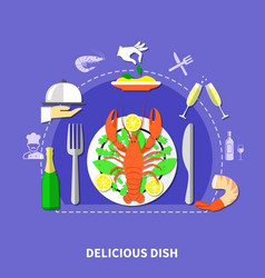 delicious restaurant food composition vector image