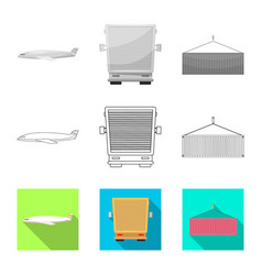 Design of goods and cargo icon set of vector