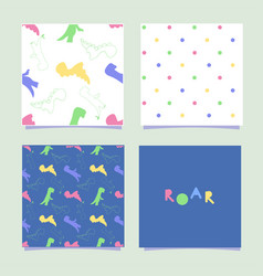 Dino pattern seamless tile dinosaurs and polka vector