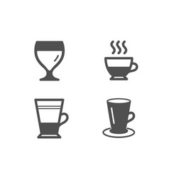 Double latte doppio and wine glass icons teacup vector