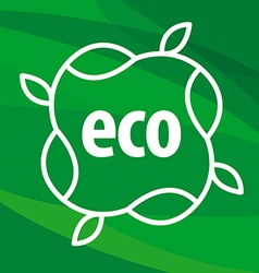 eco logo in the form of plants on green background vector image