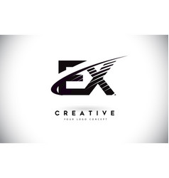 Ex e x letter logo design with swoosh and black vector